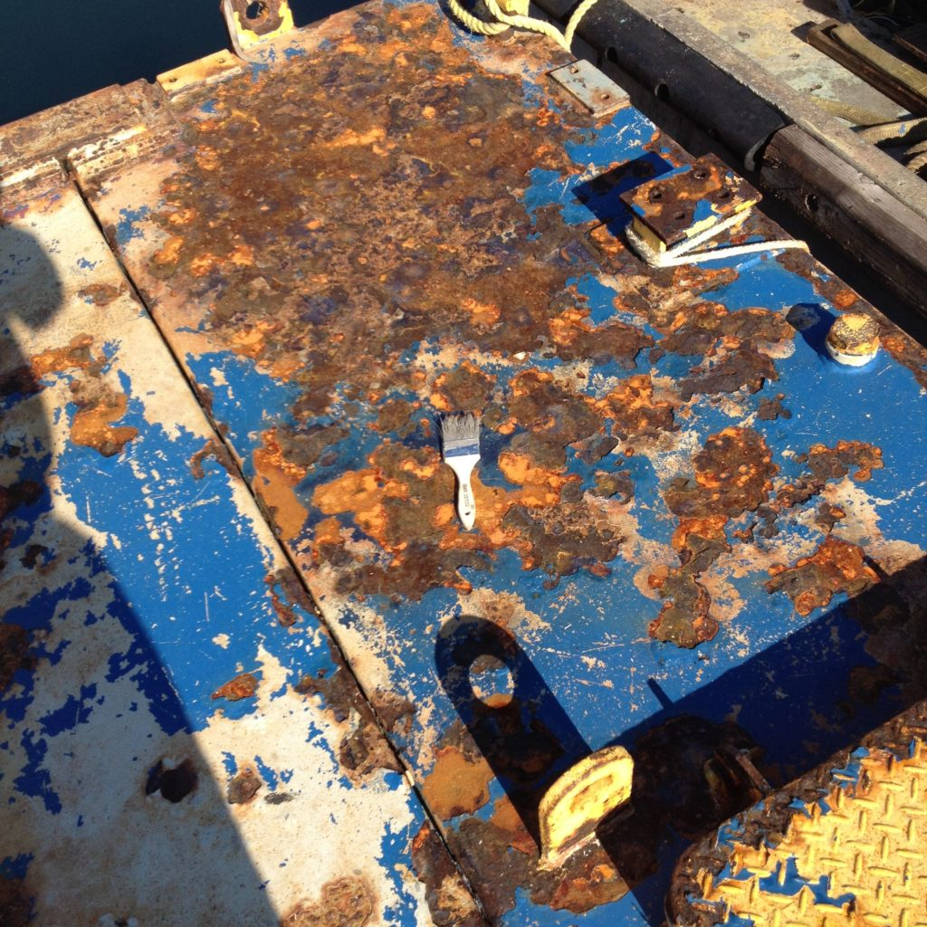 The deck was fully repaired at dockside without sand blasting or grinding