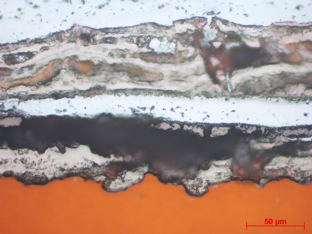 White (CRS) has penetrated all the way to metal surface (orange)